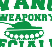 Advanced Weaponry Specialist with green army tank Sticker