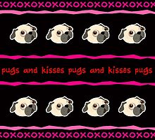 Pugs and Kisses Valentine's Day Card by NestToNest