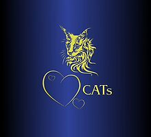 "I-phone case ""Catlovers"" Chromium gold edit by scatharis"