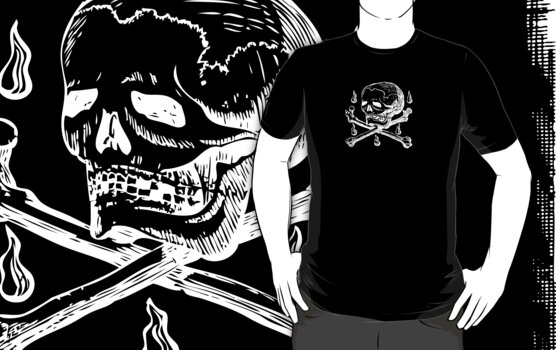 Skull & Crossbones (white on dark) by electrasteph