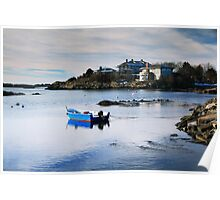 Blue Boat on a White Winter Cove Poster