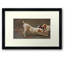 Play Bow - Pointer and her Puppies Framed Print