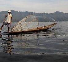 Fisherman on lake Inle #2 (Burma/ Myanmar)  by Peter Voerman