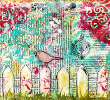 Bird on a White Picket Fence - Mixed Media Poster by Pip Gerard