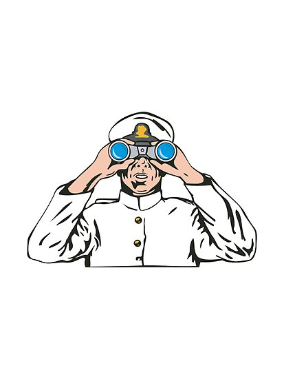 Navy Captain Sailor With Binoculars  by patrimonio