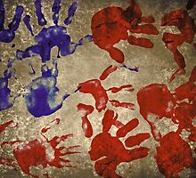 american flag handprints 2 by Adam Asar
