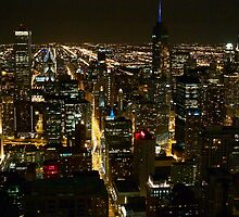 Chicago Lights By Night by EdPettitt