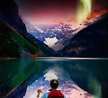canoeing in banff under northern light by Adam Asar