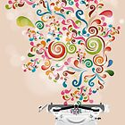 Creative output - typewriter with colorful splashes by schtroumpf2510