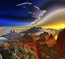 Spacecraft over Alien World by SpinningAngel