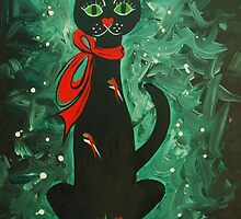 Cat with a Red Bow by The Mysterious Miss