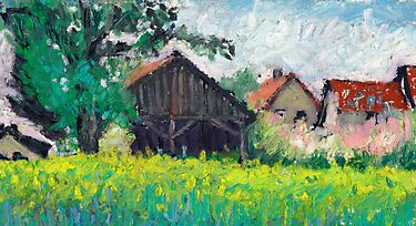 Oil pastel landscape plein air study, barns and houses by aceshirt