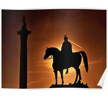 Sunset at Trafalgar Square, London Poster