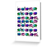 Funky Multicolored Elephants Greeting Card