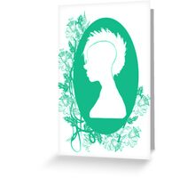 Vintage Punk Cameo Turquoise Greeting Card
