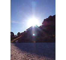 sun over house on cliff - purple Photographic Print