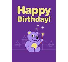 Purple Cartoon Teddy Bear Fairy Birthday Photographic Print