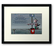 Silly Illustrated Sea Monkey Poem Framed Print