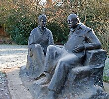 Sir Winston Churchill & his wife statue in Chartwell by Keith Larby