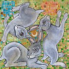 Three Hares Chase the Moon by Lynnette Shelley