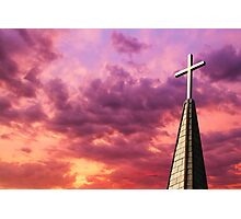 Steeple Cross Sky Photographic Print