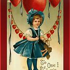 Valentine Card-Girl in Blue by Yesteryears