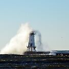 Overtaken, Ludington Lighthouse by Debbie  Maglothin