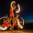 Three Strong Men Juggling Fire in Hawaii - Fire Dancers by DeborahKolb