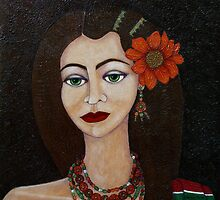 Gypsy with green eyes by Madalena Lobao-Tello