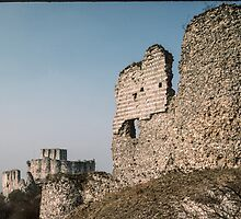 End and central section Castle Gaillard Les Andelays 198402160032 by Fred Mitchell