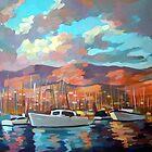 Boats in Santa Barbara by painterflipper