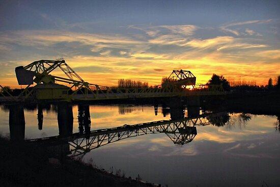 Freeport Bridge at Sunset by Barbara  Brown