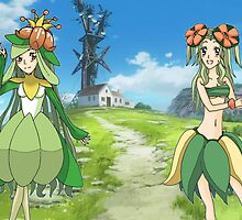 Lilligent and Bellossom (Human Forms) by AriusChambers
