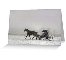 Romantic Buggy Ride In The Snow Greeting Card