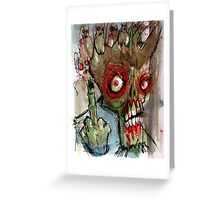 zombie gives the finger Greeting Card