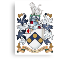 "James Bonds coat-of-arms and family motto ""The world is not enough""  Canvas Print"