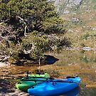 Kayaks on Dove Lake, Cradle mountain. Tasmania by Esther's Art and Photography