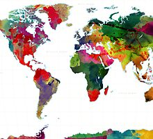 Watercolor World Map by Gary Grayson