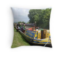 Workingboat waiting at Foxton Locks Throw Pillow
