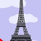 Eiffel tower with red and white roses by Marishkayu