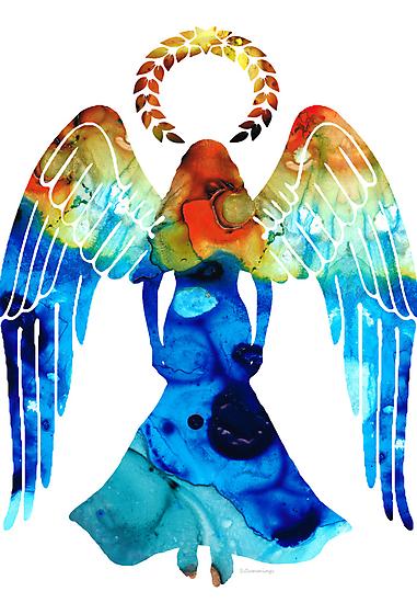 Guardian Angel - Spiritual Art Paitning by Sharon Cummings