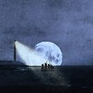 Across The Sea A Pale Moon Rises by Denise Ab
