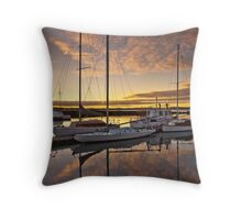 A Calm Marina Sunrise Throw Pillow