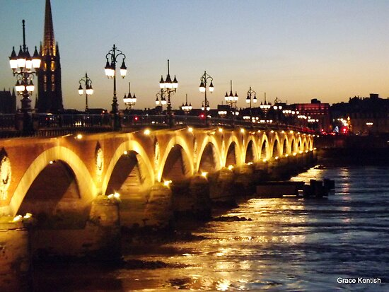 Bordeaux bridge at night by graceloves