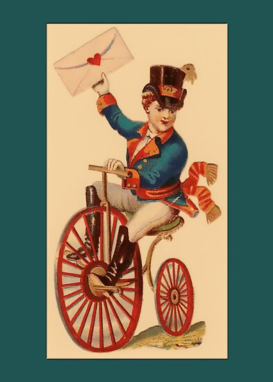 Valentine Card-Boy on Bicycle by Yesteryears
