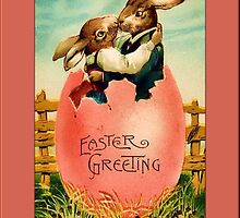 Easter Greetings-Rabbits in Egg by Yesteryears