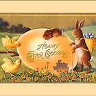 Easter Greetings-Bunnies, Chicks, Egg by Yesteryears