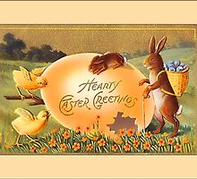 Easter Greetings-Bunnies, Chicks, Egg by Yesteryears