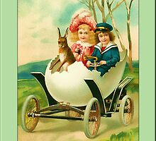 Easter Greetings-Kids in Egg Car by Yesteryears