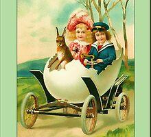 Easter Greetings-Kids in Egg Car by Yesteryears